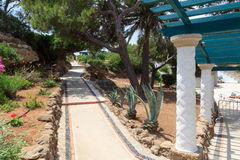 Path in Kalithea Springs in Rhodes Royalty Free Stock Image