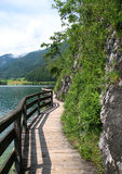 Path between lake and rock. Fenced wooden winding path between lake and rock Royalty Free Stock Images
