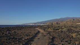 Path through the landscape of Malpais de la Rasca, Tenerife, Canary Islands, Spain royalty free stock photography