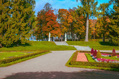 Path among the lawns in the Park and staircase leading to the Catherine Palace in Tsarskoye Selo, Pushkin, Saint-Petersburg, Russi. Path among the lawns in the Stock Photography