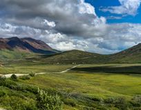 Path leading into the mountains with sky and cloud in Denali Nat Stock Photos
