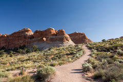 Path leading to the arch in Arches National Park, Moab, Utah, USA. Path leading to the arch in Arches National Park, Moab, Utah Stock Photo