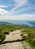 Path leading to the top of Ben Lomond in a sunny  day. Loch Lomo Royalty Free Stock Photography
