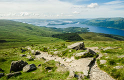 Path leading to the top of Ben Lomond in a sunny  day. Loch Lomo Royalty Free Stock Images