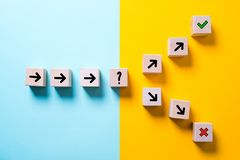 Path leads to decision which changes the path in two directions. On colored background stock photos