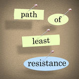 Path of Least Resistance Words Saying Quote Bulletin Board. Path of Least Resistance words pinned to a bulletin board as a saying of advice to avoid conflict Royalty Free Stock Image