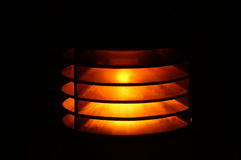 Path Light Close-up. Close-up of a lighted pathway or sidewalk light fixture Royalty Free Stock Photos