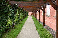 Path lined with frame-work Royalty Free Stock Photos