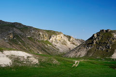 Path looping through rocky hills in Moldova Royalty Free Stock Image