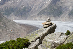 Path marker. In the alps located in the Unesco Hertitage of Aletsch, Switzerland Royalty Free Stock Photography