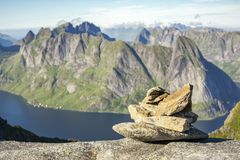 Path marker cairn on way to Munkan peak in Lofotens, Norway. Path marker cairn on way to Munkan peak in Lofotens, Northern Norway stock photography