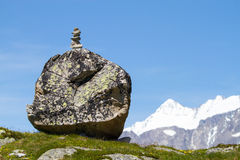 Path marker. Traditional path marker in the alps Royalty Free Stock Photography