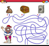 Path maze activity with pirate Royalty Free Stock Photo
