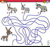 Path maze game with donkey Stock Photo
