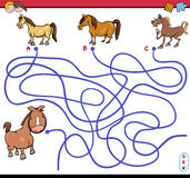 Path maze game with horses vector illustration