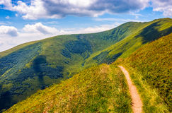 Path through a meadow on hillside. Winding road through large meadows on the hillside of Carpathian mountain range Stock Photography