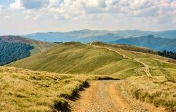 Path through a meadow on mountain ridge Stock Photography