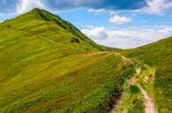 Path through a meadow to mountain peak Stock Images