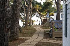 Path through a Mediterranean Tourist Holiday Camping Site stock photo