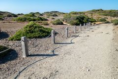Path in the Menorcan natural park. Photograph of a path in the Menorcan natural park,Menorca, Baleraic Islands, Spain Stock Photo