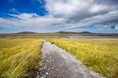 Path through the moor on a sunny day. Gravel path through the boggy moor wetland leading to one of numerous lochs on Isle of North Uist. Taken near Barpa Langais stock photography