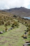 Path beside a mountain lake in the Antisana Ecological Reserve, Ecuador Royalty Free Stock Photography
