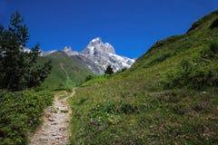 Path in the mountains. Mount Ushba, Main Caucasian ridge stock image