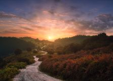 Path in the mountains with sunset. Path in the mountains with beautiful sunset stock images
