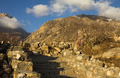 Path in mountains to Buddhist Temple in Muktinath, Himalayas Stock Photography