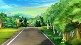 Path Near the Forest. Digital Painting, Illustration of a path near the forest in Realistic Cartoon Style Stock Photography
