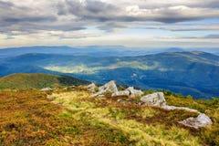 Path near large stones on mountain range Royalty Free Stock Photo