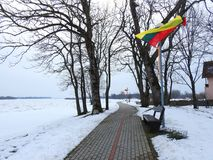 Path near river Atmata in Rusne town, lithuania Royalty Free Stock Photography
