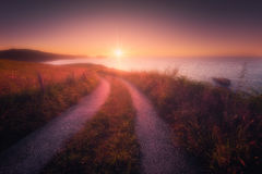 Path near the sea in Zarautz at sunset Royalty Free Stock Photography