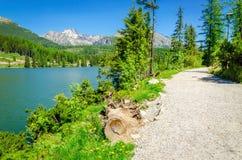Path next to a beautiful mountain lake Stock Photo