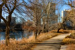 Path along North Pond during Autumn with the Afternoon Sun in Lincoln Park Chicago stock photography