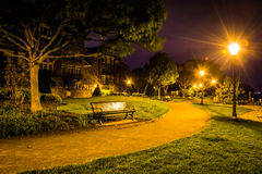 Path at night in a park in Alexandria, Virginia. Royalty Free Stock Photos