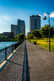 Path at North Point Park and buildings in Boston, Massachusetts. Stock Image