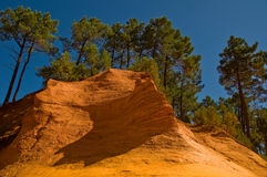 The path of the ochre near Roussillon,France. Near Roussillon,Vaucluse,France,a touristic path has taken the place of an ancient quarry of ochre royalty free stock images