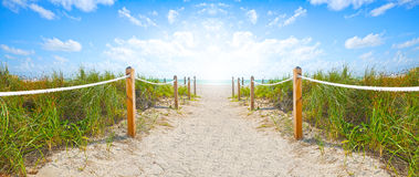 Free Path Of Sand Going To The Beach And Ocean In Miami Beach Florida Royalty Free Stock Image - 63100846