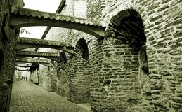 Path in old city. Black and white Stock Photography