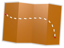 Path on the orange map. 3D rendering Stock Image