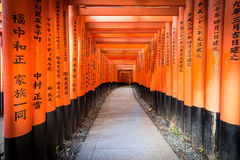 Path of oranges japanese gates in a temple in Kyoto Stock Photography