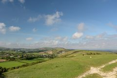 Free Path Over Ballard Down Above Corfe In Dorset Stock Photo - 144879760