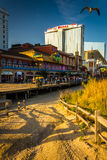 Path over sand dunes and the boardwalk in Atlantic City, New Jer Stock Image