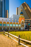 Path over sand dunes and buildings along the boardwalk in Atlantic City, New Jersey. stock photography