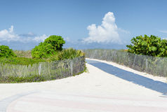 Path over sand dunes to the Atlantic Ocean. In Miami, Florida Stock Photo