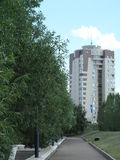 Path in the park and building. Path near the river Ishim, Astana, building and restoran, summer day Stock Photo