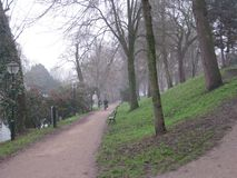 A path through a park with a cyclist in Utrecht, The Netherlands stock image