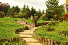 Path in the park. Of the steps that rise up Royalty Free Stock Photo