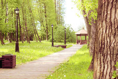 Path in the park, which leads to the gazebo. Beautiful park with trees, lanterns and gazebo. Spring park with dandelions Royalty Free Stock Photography